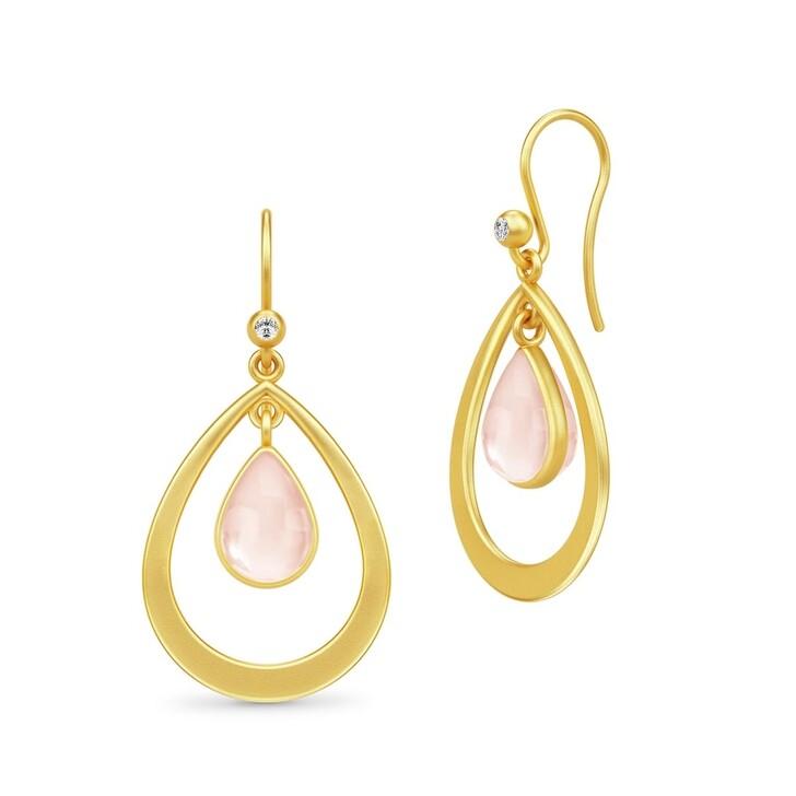 Ohrring, Julie Sandlau, Poetry Droplet Earrings Gold/Milky Rose