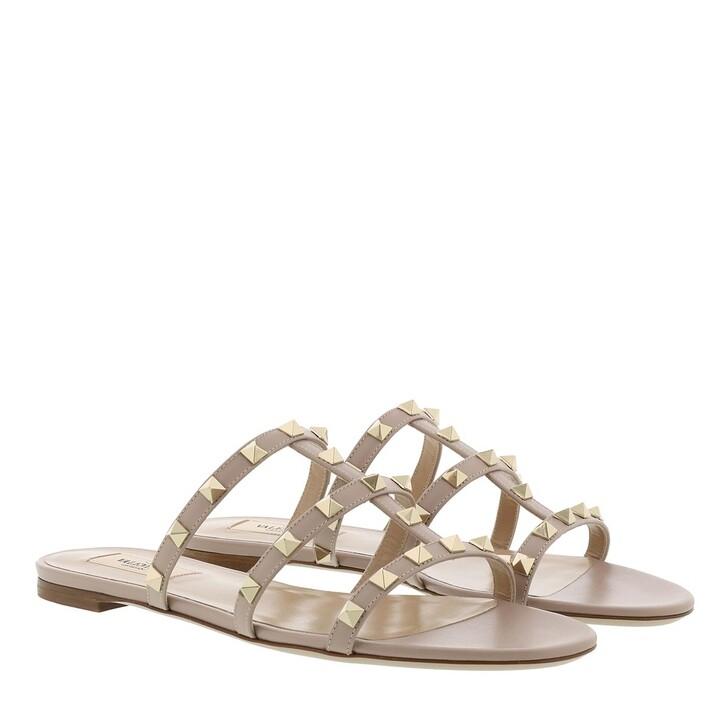Schuh, Valentino Garavani, Flat Sabot Sandals Nude