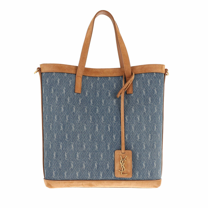bags, Saint Laurent, Monogram Toy Shopping Bag Denim Suede  80's Sea Blue