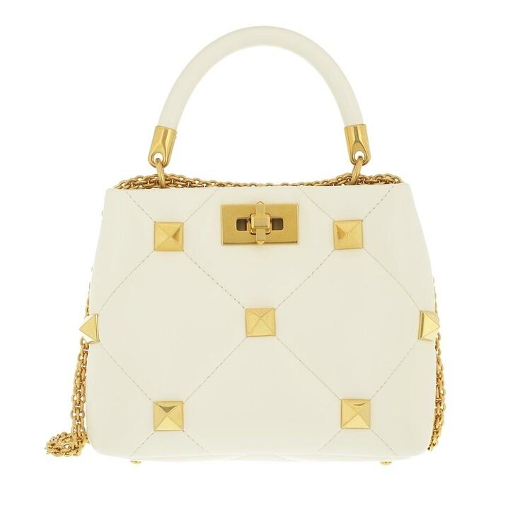 bags, Valentino Garavani, Small Roman Stud Handle Bag Leather Ivory