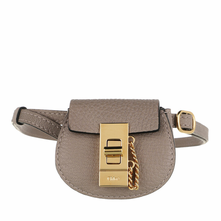 Handtasche, Chloé, Drew Mini Bracelet Bag Calfskin Motty Grey