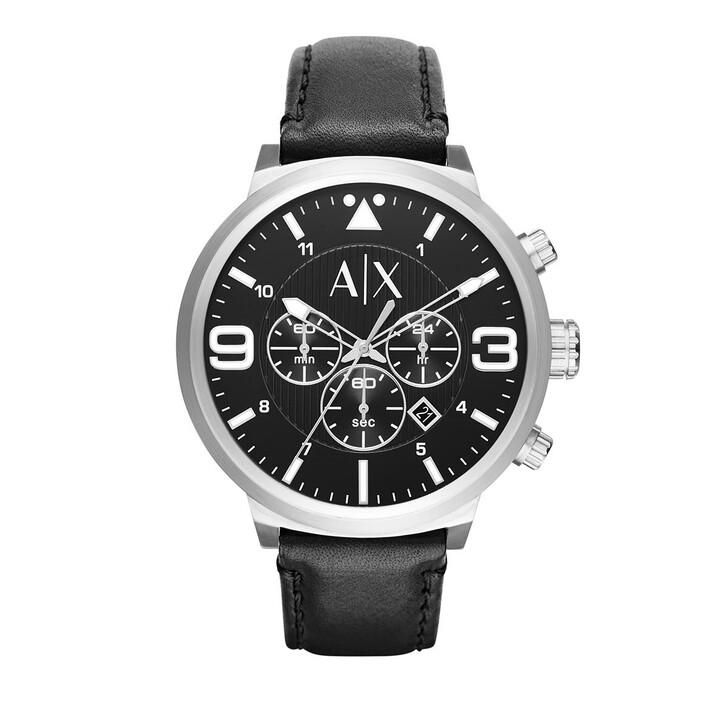 Uhr, Armani Exchange, Chronograph Leather Watch Black