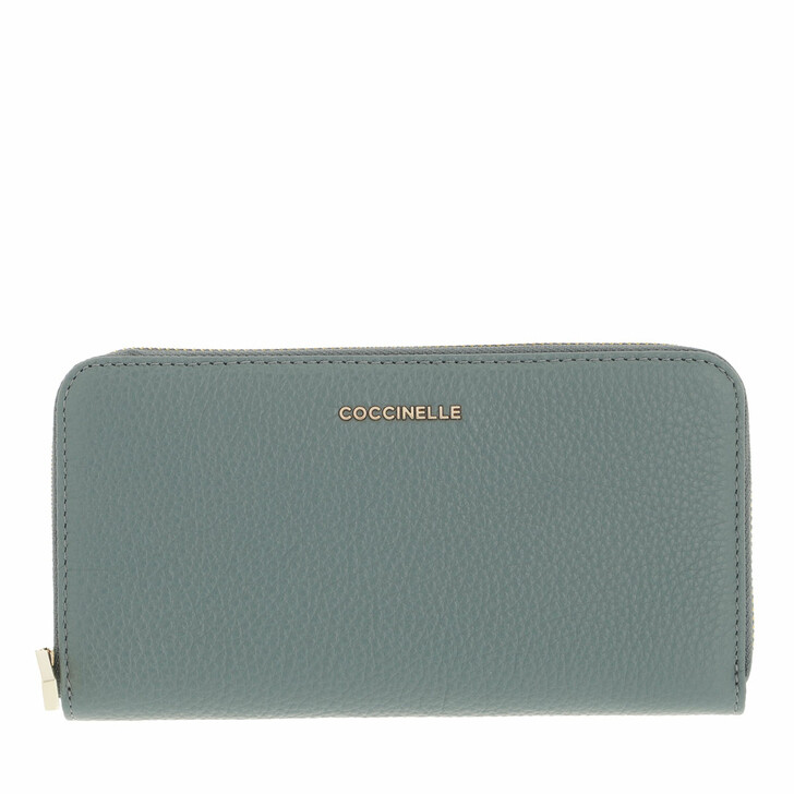 wallets, Coccinelle, Metallic Soft Wallet Grainy Leather  Shark Grey