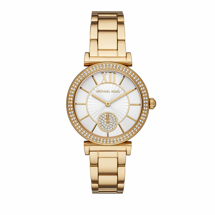 watches, Michael Kors, Abbey Three-Hand Stainless Steel Watch Gold