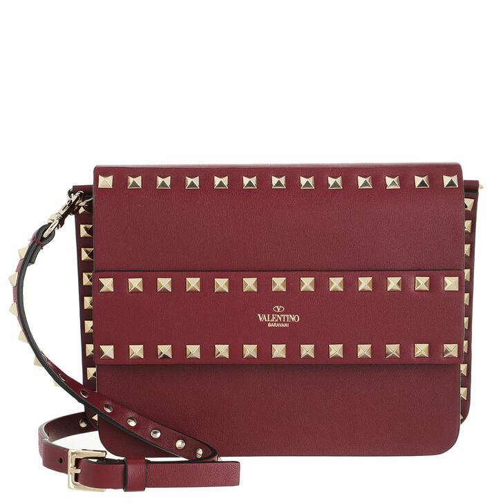 Handtasche, Valentino Garavani, Rockstud Shoulder Bag Leather Cherry