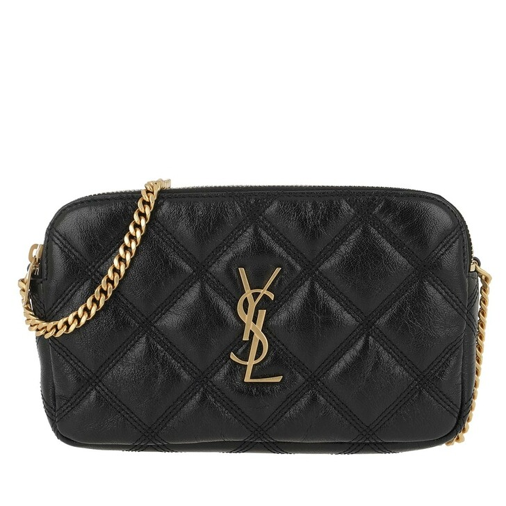 Handtasche, Saint Laurent, Becky Double Zip Pouch Leather Black