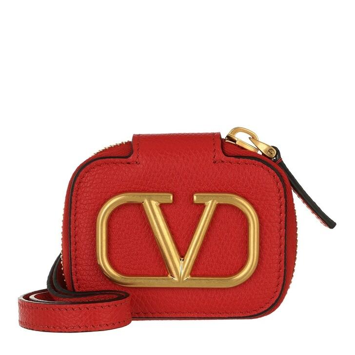 smart_cases, Valentino Garavani, V Logo Signature Airpod Case Calf Leather Rouge Pur