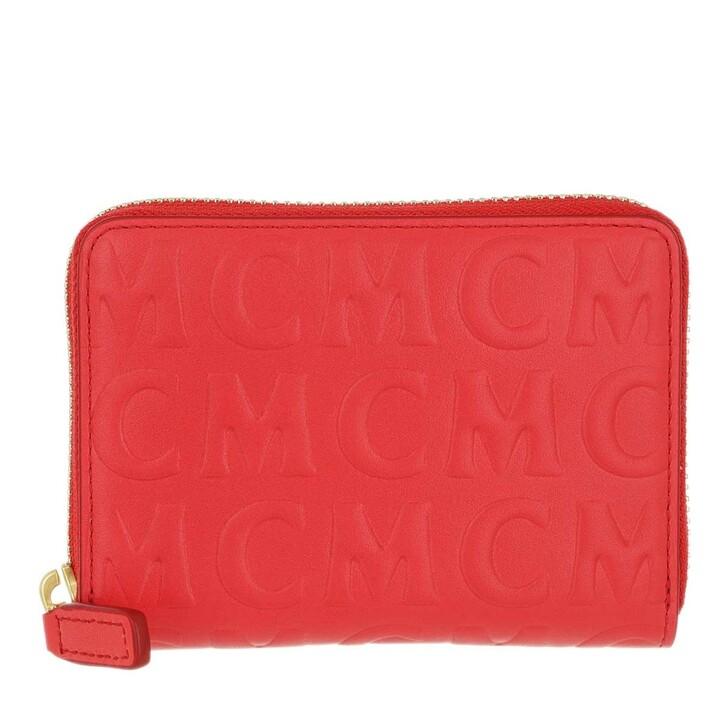 Geldbörse, MCM, New Zip Wallet Mini Poppy Red
