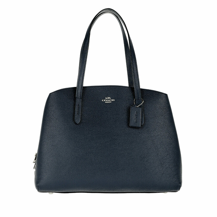 Handtasche, Coach, Polished Pebble Leather Charlie 40 Handle Bag Blue Navy