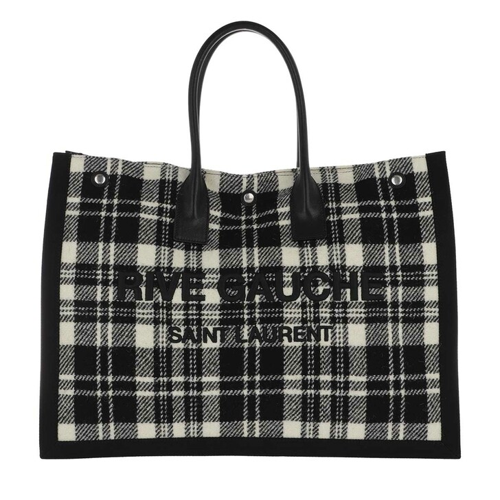 bags, Saint Laurent, Rive Gauche Tote Bag Noe Cabas Off White Nero