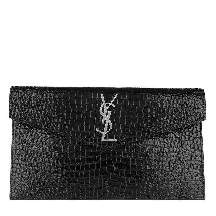 Handtasche, Saint Laurent, Uptown Pochette Croco Embossed Leather Black