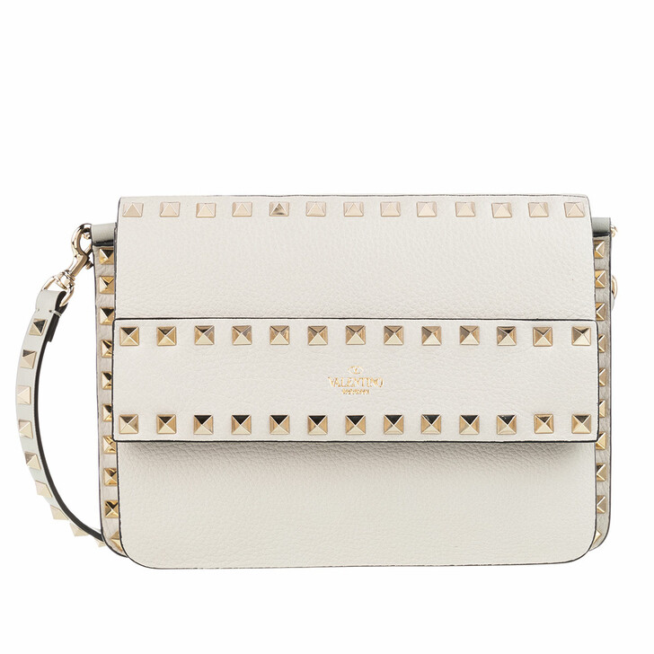 Handtasche, Valentino, Rockstud Shoulder Bag Leather Grey