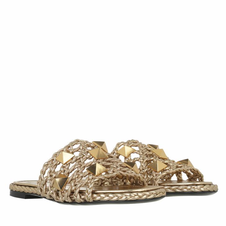 shoes, Valentino Garavani, Roman Stud Slide Star Gold