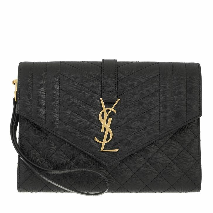 bags, Saint Laurent, Matelassé Monogram Clutch Leather Black