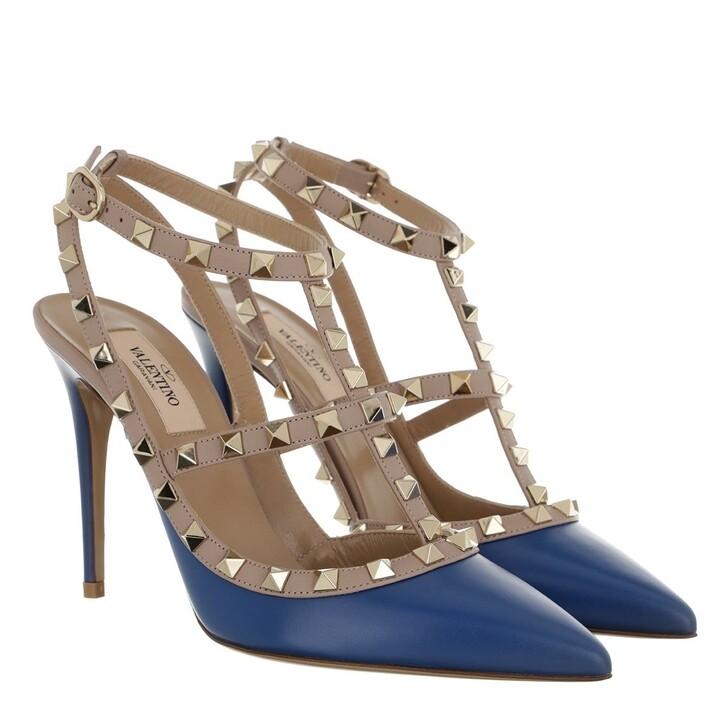 Schuh, Valentino Garavani, Rockstud Ankle Strap Pump Leather Blu Delft Poudre