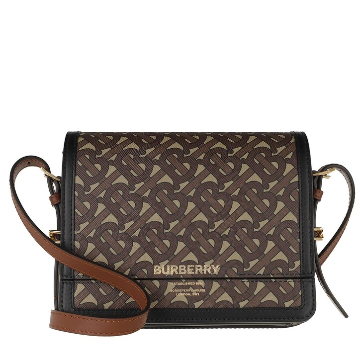Handtasche, Burberry, Grace Small Crossbody Bag Monogramm Eco-Canvas Bridle Brown