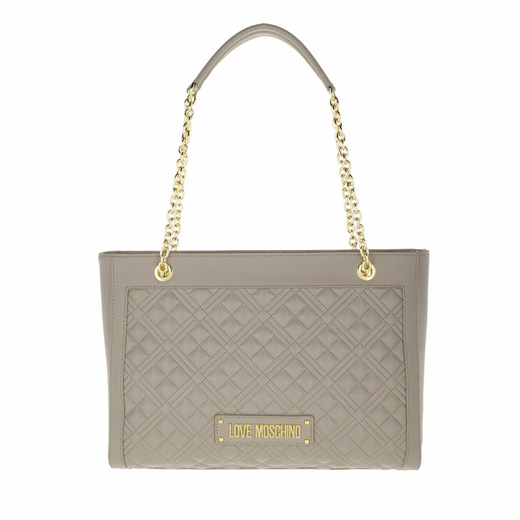 bags, Love Moschino, Borsa Quilted Pu Grigio