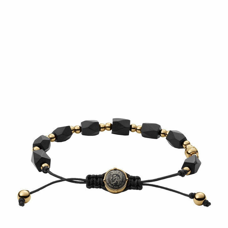 Armreif, Diesel, Stainless Steel Beaded Bracelet Black Agate/Gold
