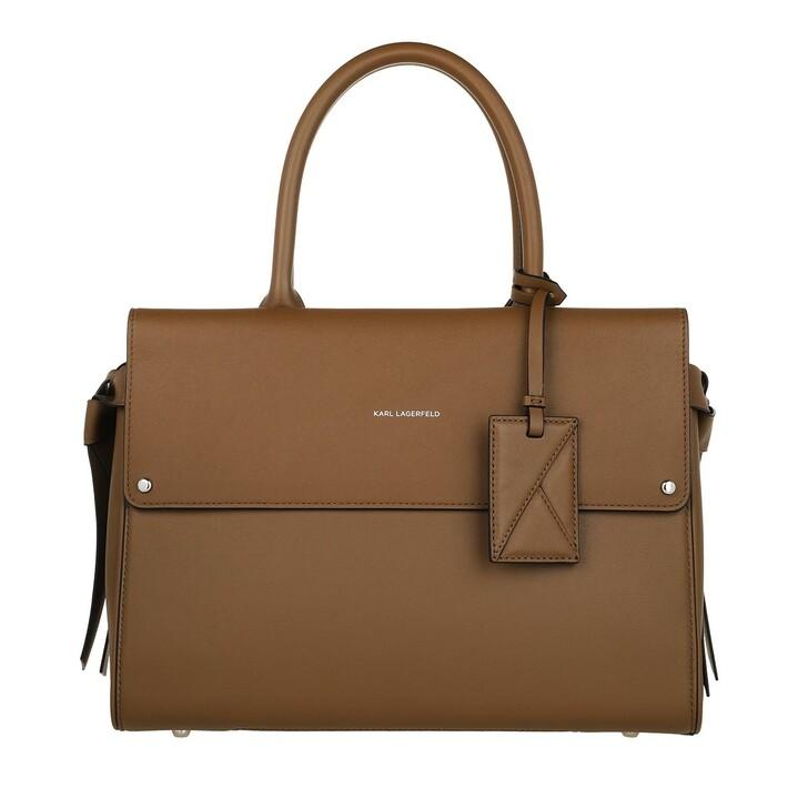bags, Karl Lagerfeld, K/Ikon Medium Top Handle Noisette