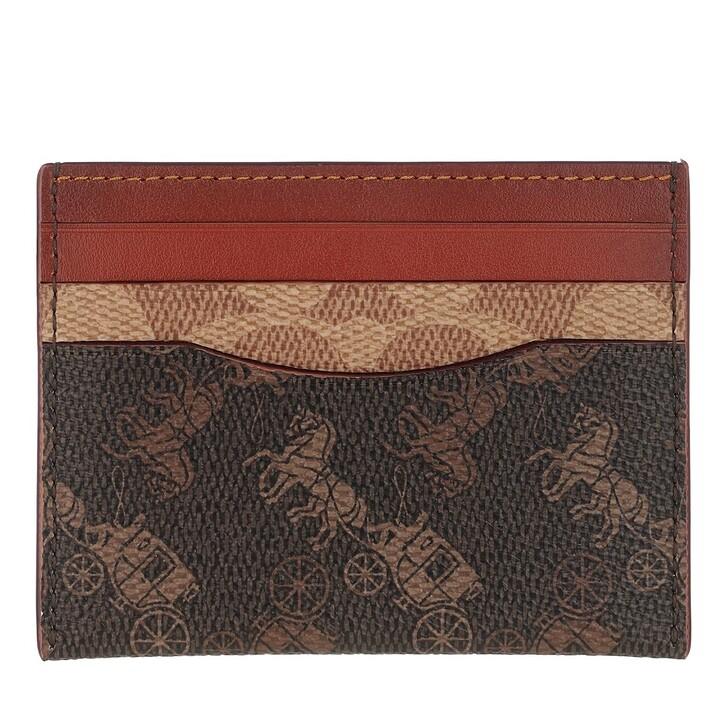 wallets, Coach, Signature Carriage Flat Card Case Tan Truffle