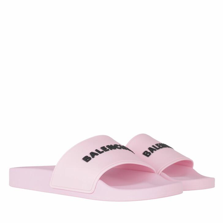 shoes, Balenciaga, Slide Logo Sandals Light Pink/Black