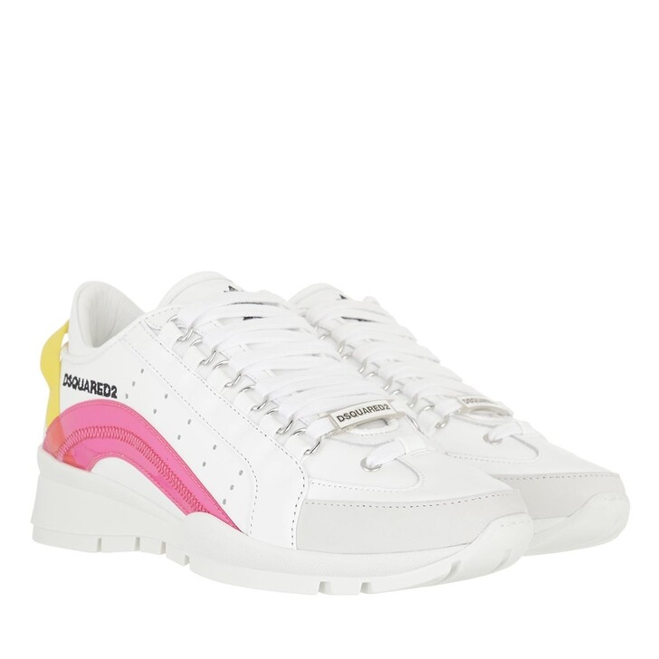 shoes, Dsquared2, Lace Up Sneakers White/Fuchsia/Yellow