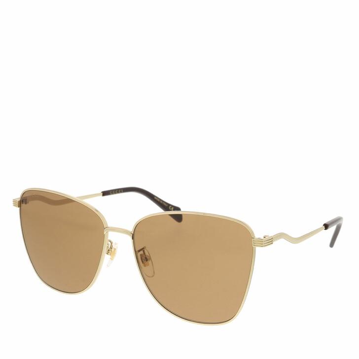 Sonnenbrille, Gucci, GG0970S-002 60 Sunglass WOMAN METAL GOLD