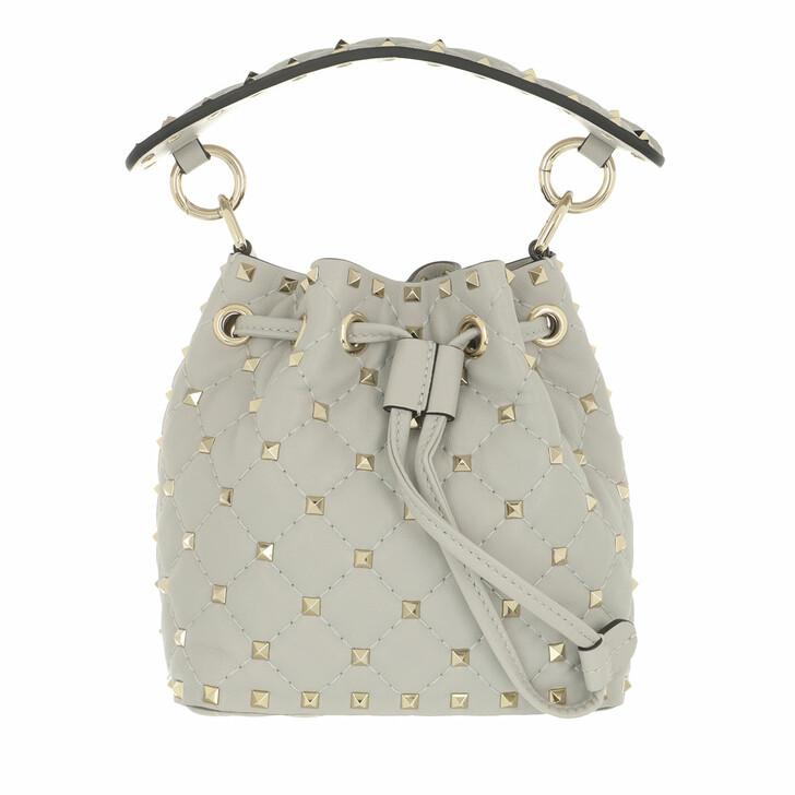 Handtasche, Valentino Garavani, Spike Mini Bucket Bag Opal Grey