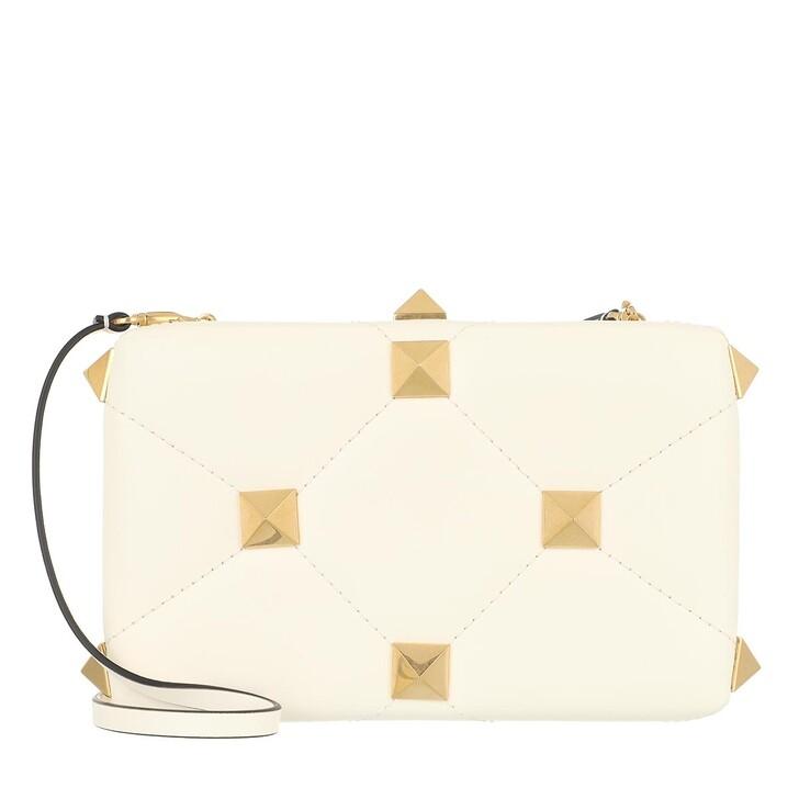 bags, Valentino Garavani, Roman Stud Clutch Nappa Ivory