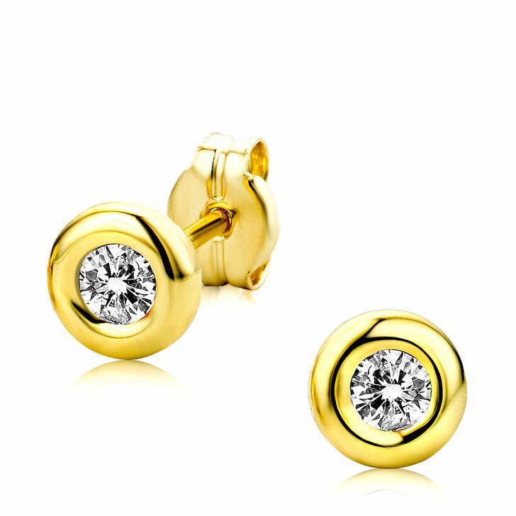 earrings, BELORO, 9ct Rubover Cubic Zirconia Stud Earrings Yellow Gold