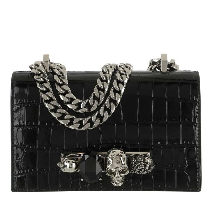 bags, Alexander McQueen, Skull Jewelled Mini Satchel Bag Black