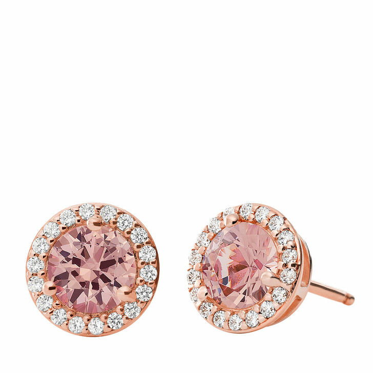 Ohrring, Michael Kors, 14K Plated Sterling Silver Pave Halo Stud Rose Gold