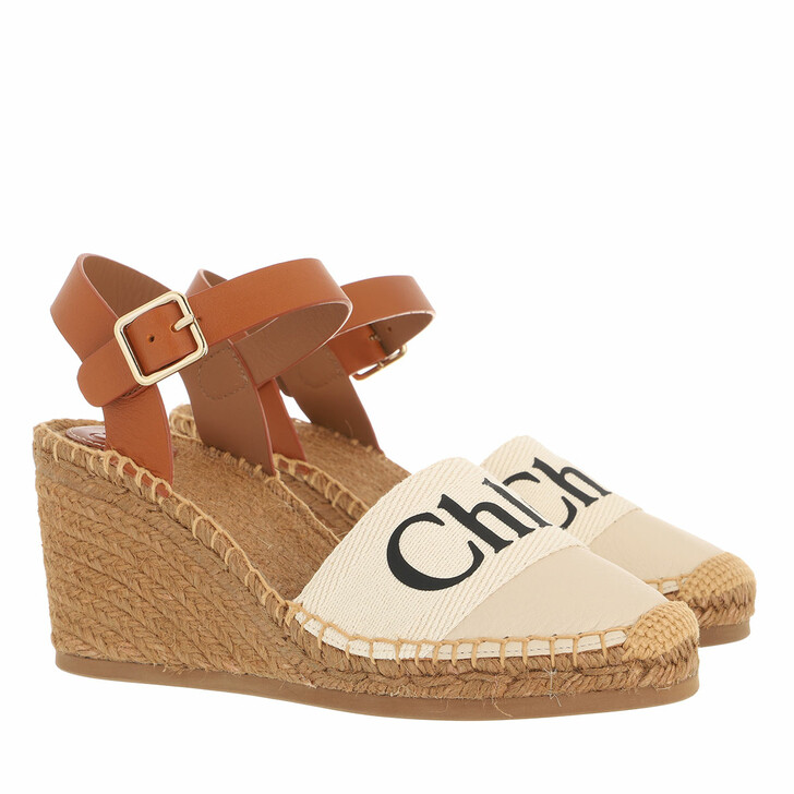 shoes, Chloé, Woody Wedged Espadrilles White