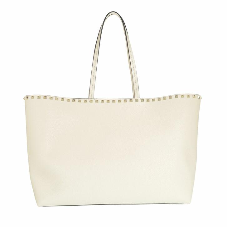 Handtasche, Valentino Garavani, Rockstud Studded Shopping Bag Leather Light Ivory