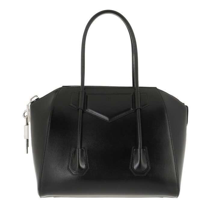 bags, Givenchy, Medium Antigona Lock Handle Bag Leather Black
