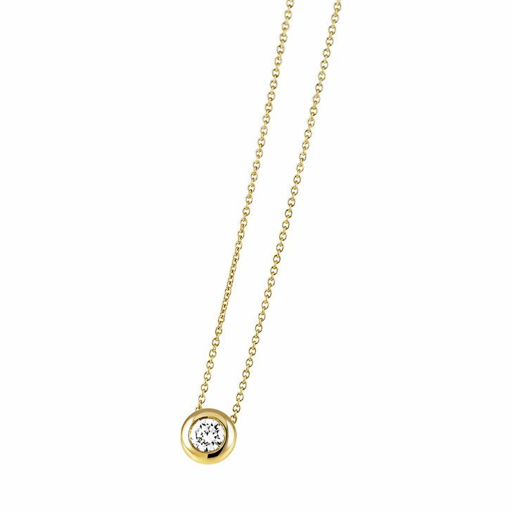 necklaces, diamondline, Pendant/Chain 375 1 Diamond approx. 0,10 ct. K-L-l Yellow Gold