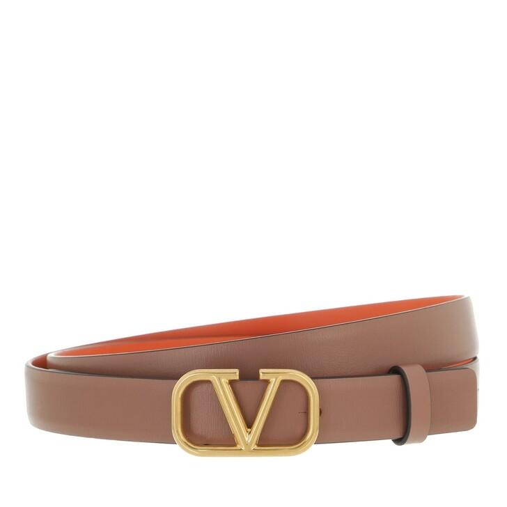 belts, Valentino Garavani, V Logo Belt Calfskin Antique Brass