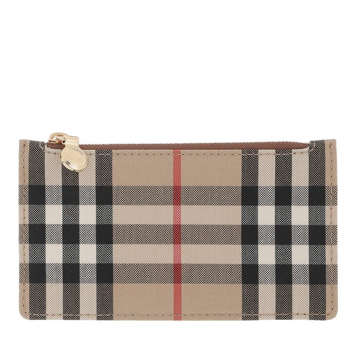 wallets, Burberry, Card Holder Leather Vintage Check Tan/Checked