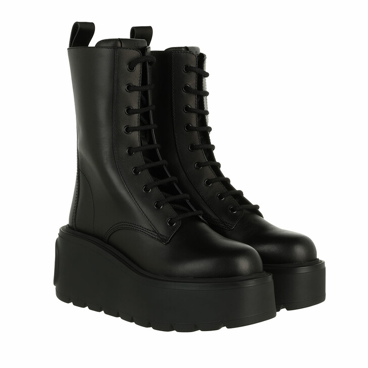 shoes, Valentino Garavani, V Logo High Combat Boots Leather Black