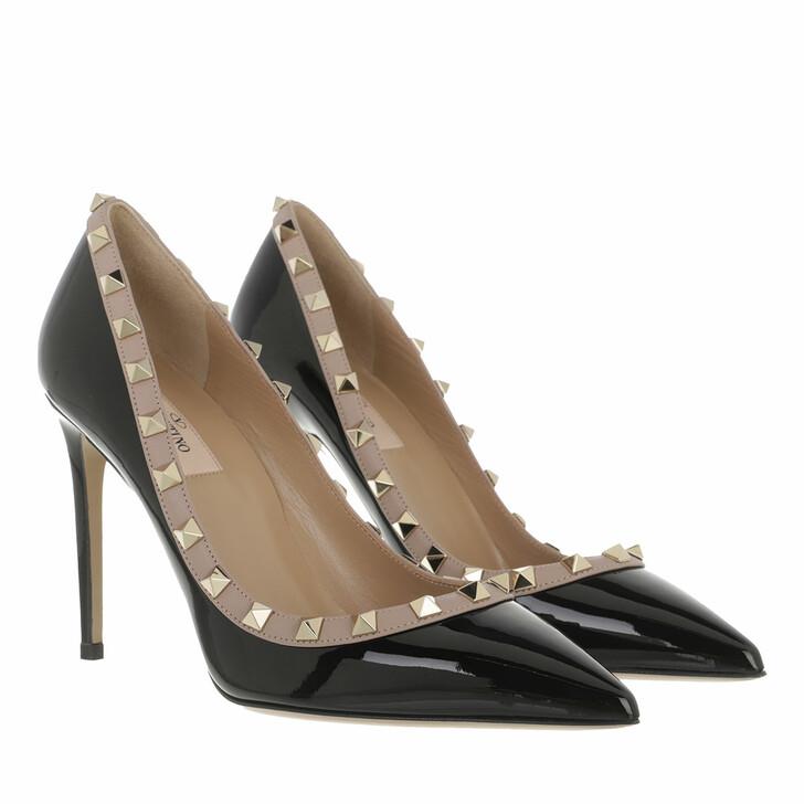 shoes, Valentino Garavani, Rockstud Patent Pumps Black Poudre