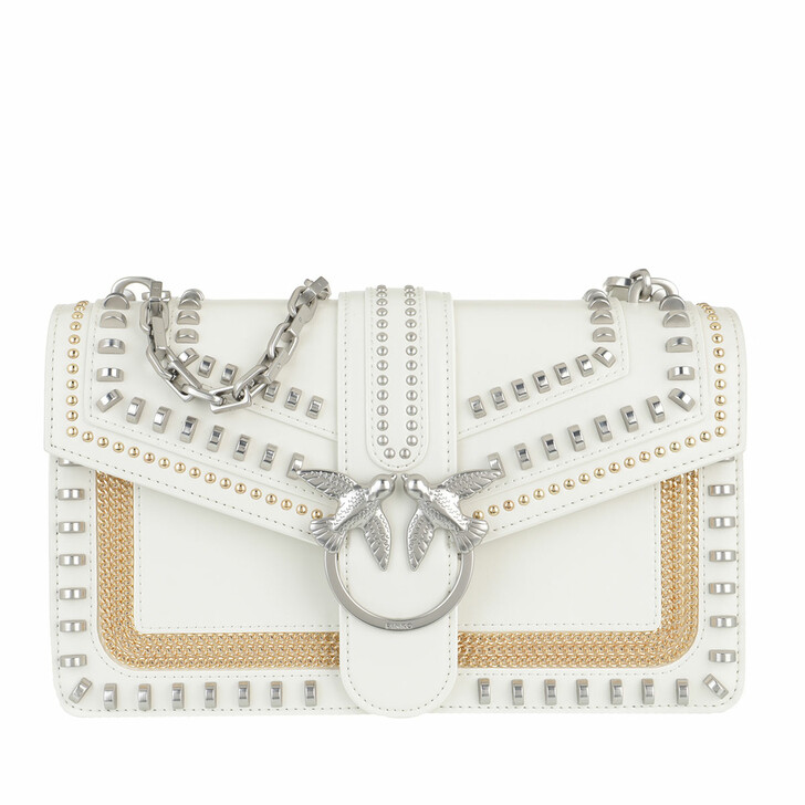 Handtasche, Pinko, Love Classic Mix Studs Crossbody Vitello V White