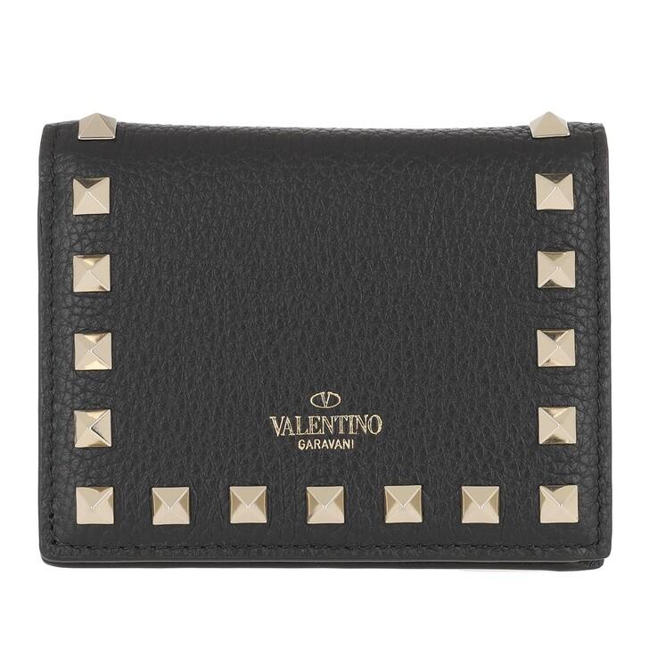 Geldbörse, Valentino, Rockstud Continental Wallet Leather Black