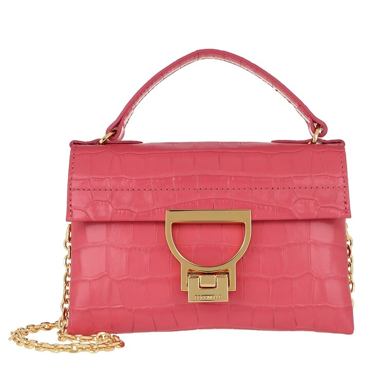 Handtasche, Coccinelle, Mignon Croco Shiny Soft Crossbody Bag Bouganville