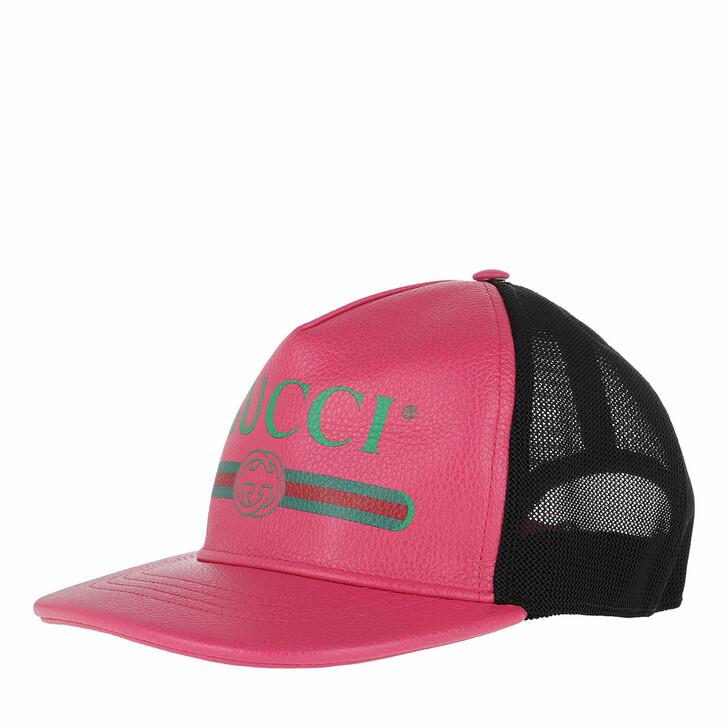 hats, Gucci, Gucci Print Baseball Hat Leather Fuchsia/Black