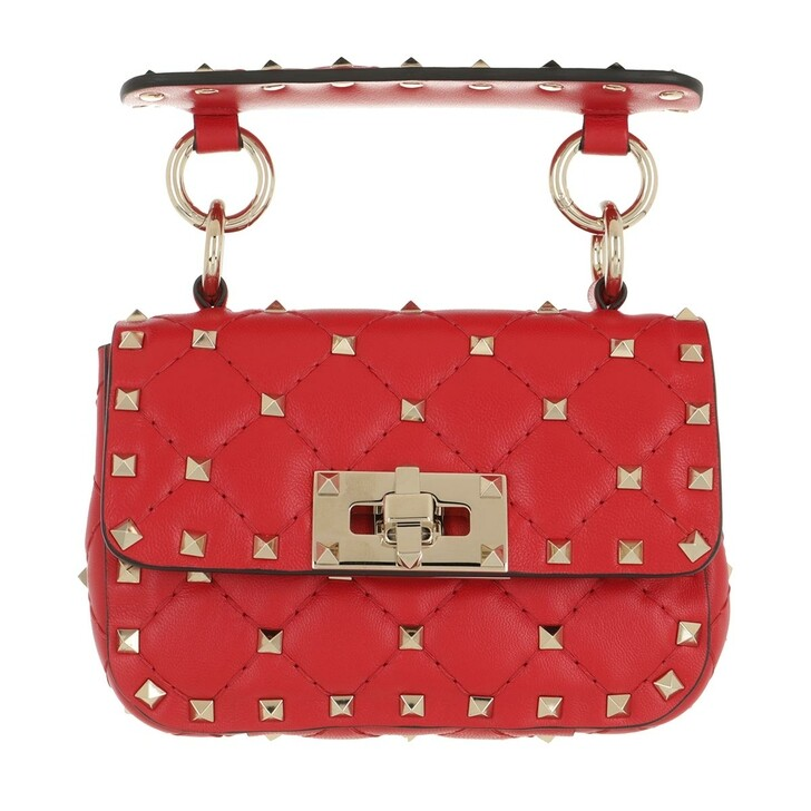 bags, Valentino Garavani, Mini Rockstud Spike Crossbody Calfskin Rouge Pur