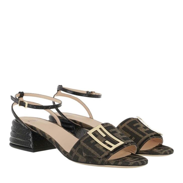 Schuh, Fendi, FF Motif Heel Sandals  Brown