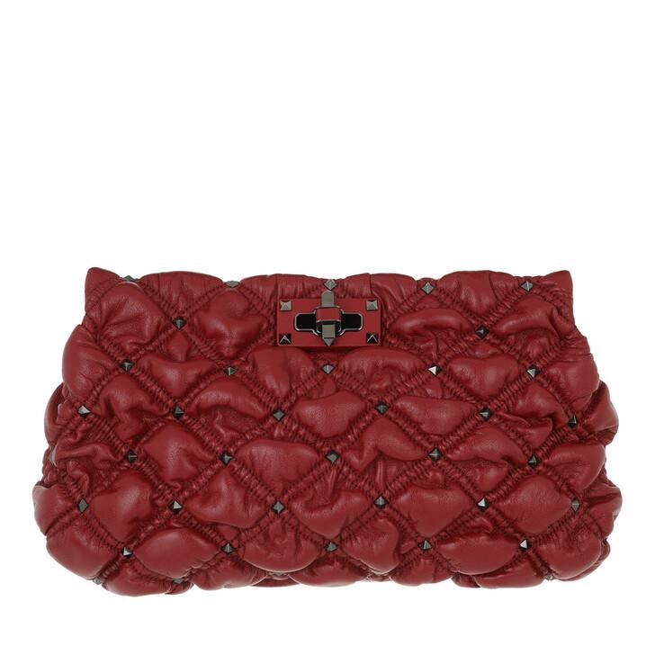 bags, Valentino Garavani, Spike Me Clutch Nappa Leather Red
