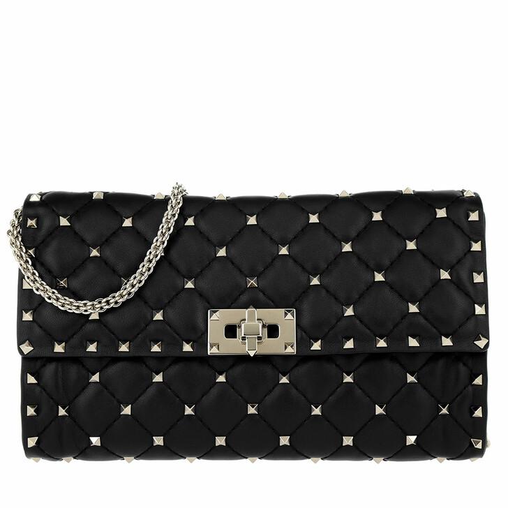 Handtasche, Valentino, Rockstud Spike Clutch Black