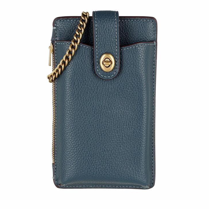 Handtasche, Coach, Polished Pebble Turnlock Chain Phone Crossbody Dark Denim