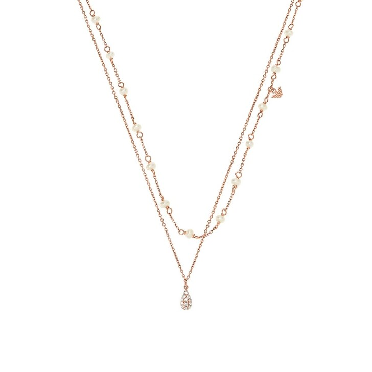 necklaces, Emporio Armani, Sterling Silver Double-Strand Necklace Rose Gold